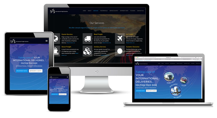 International Freight Services website design and development by kingdomedia