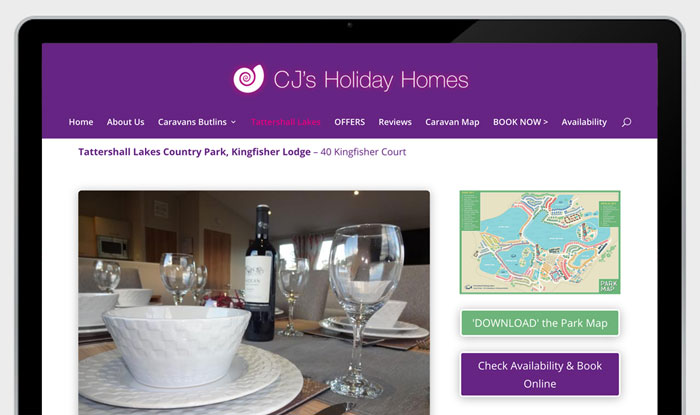 Preview of newwebsite for CJ's Holiday Homes bu Kingdomedia