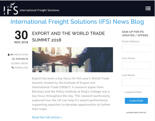 International Freight Solutions (IFS) News Blog created and maintained by Kingdom Creative Media UK