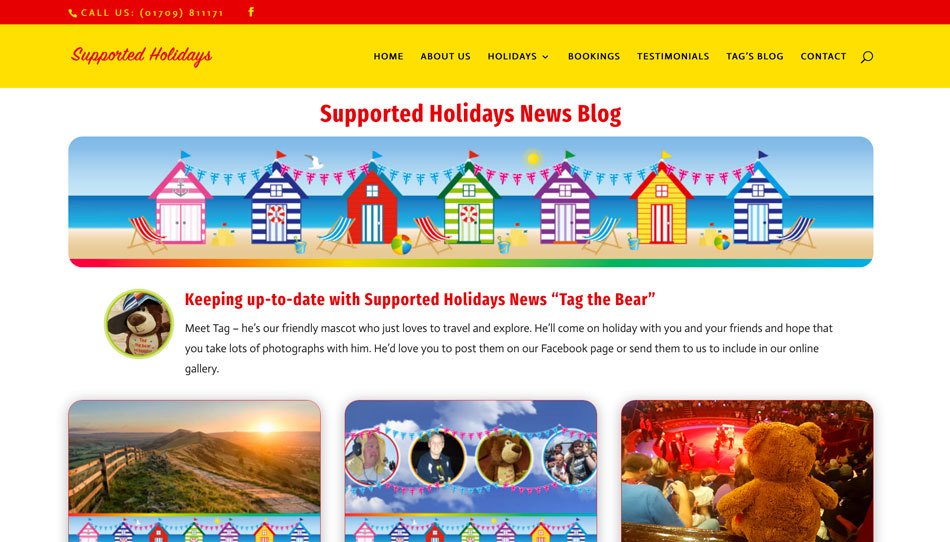 Supported Holidays New Blog, part of their website by Kingdomedia UK