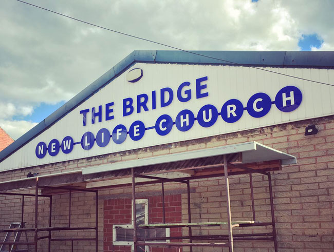Newly installed signage for The Bridge – New Life Church