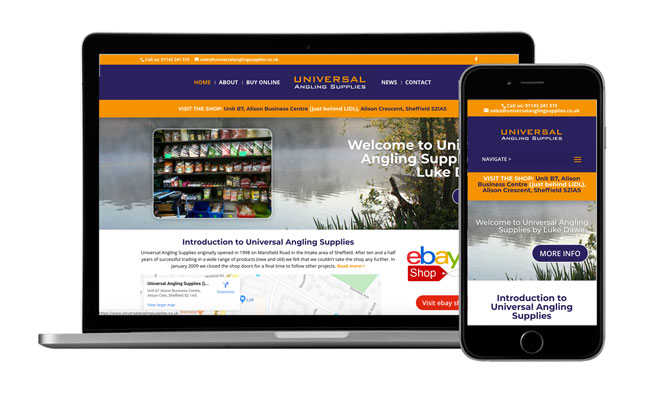 New website for a Sheffield Angling Supplier, Universal Angling Supplies